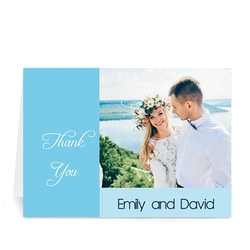 Personalized Baby Blue Wedding Photo Cards, 5X7 Folded Modern
