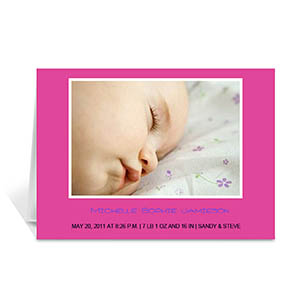 Personalized Hot Pink Baby Photo Cards, 5X7 Folded