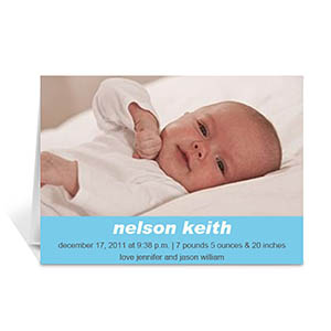 Personalized Baby Blue Photo Cards, 5X7 Portrait Folded Simple