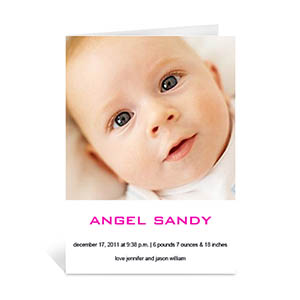 Classic White Baby Photo Cards, 5x7 Portrait Folded Simple