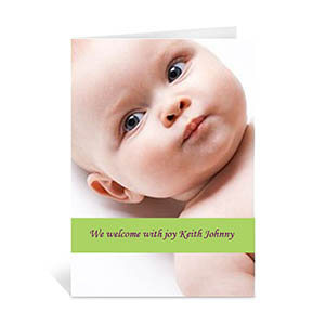 Lime Baby Photo Cards, 5x7 Portrait Folded Causal