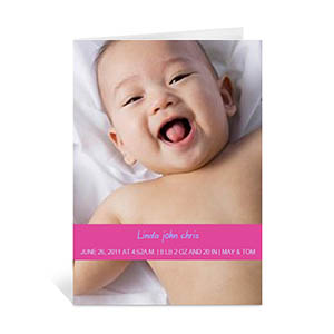 Personalized Pink Baby Greeting Card