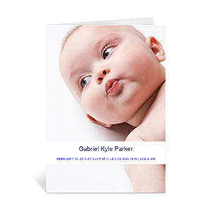 Classic White Baby Photo Cards, 5x7 Portrait Folded Causal