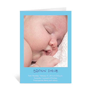 Personalized Baby Blue Photo Cards, 5X7 Portrait Folded Causal