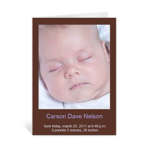 Chocolate Brown Baby Photo Cards, 5x7 Portrait Folded Causal