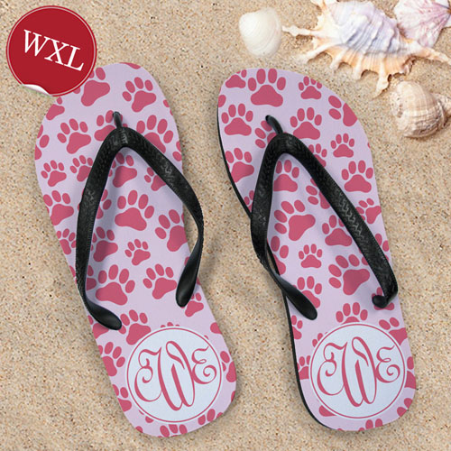 Paw Print Pattern Flip Flops, Women's X-Large