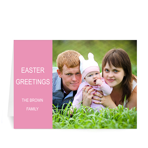 Personalized Easter Pink Photo Greeting Cards, 5X7 Folded Modern