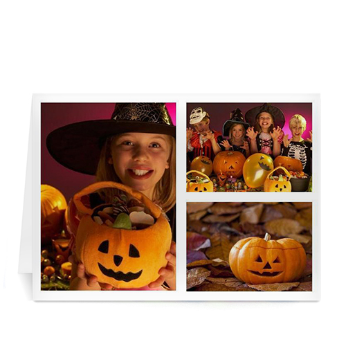 Personalized Three Collage Halloween Greeting Cards