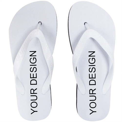 Design My Own Custom Imprint Flip Flops White Strap Ml (Two Image) Flip Flop Sandals