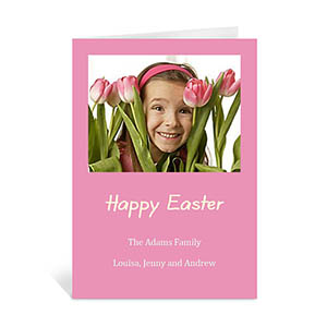 Easter Pink Photo Invitation Cards, 5x7 Portrait Folded
