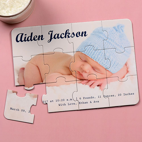 Boy Birth Announcement Invitation Puzzle