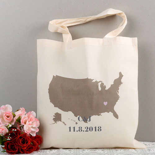 Personalized Us Map Wedding Tote  Heart Bag