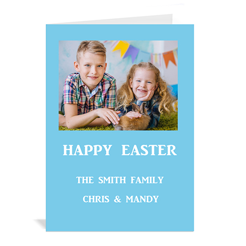 Personalized Easter Blue Photo Invitation Cards, 5X7 Portrait Folded