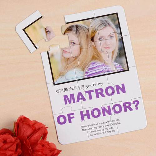 White Will You Be My Matron Of Honor Invitation Puzzle