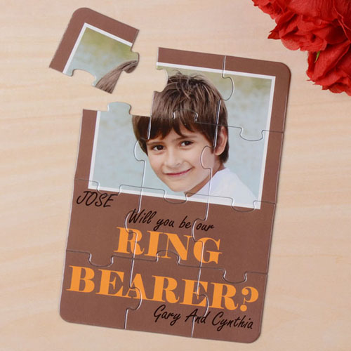Brown Will You Be My Ring Bearer Invitation Puzzle