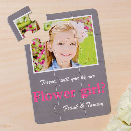 Personalized Gray Will You Be My Flower Girl Invitation Puzzle