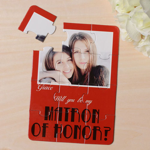 Personalized Red Will You Be My Maid Of Honor Invitation Puzzle