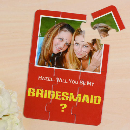 Personalized Red Will You Be My Bridesmaids Invitation Puzzle