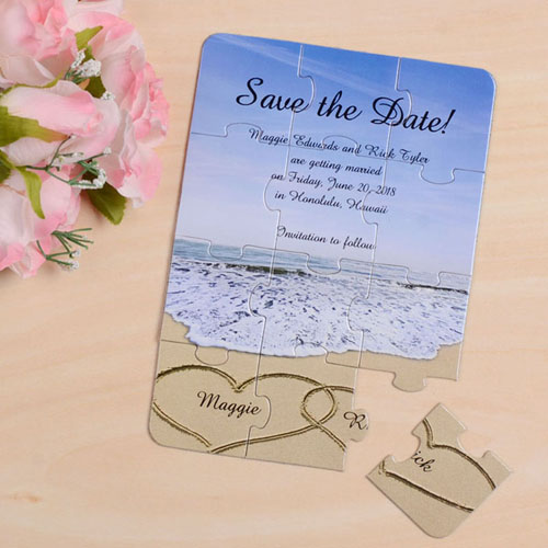 Personalized Photo Gallery Save The Date Invitation Puzzle