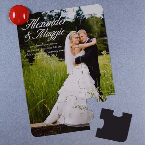Personalized Magnetic Wedding Photo Announcement Invitation Puzzle