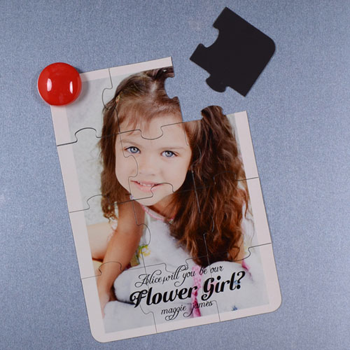 Personalized Magnetic Puzzle Card For Flower Girl Puzzle