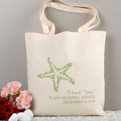 Personalized Green Starfish Beach Lover Wedding Bag
