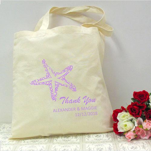 Personalized Lavender Starfish Beach Lover Wedding Bag