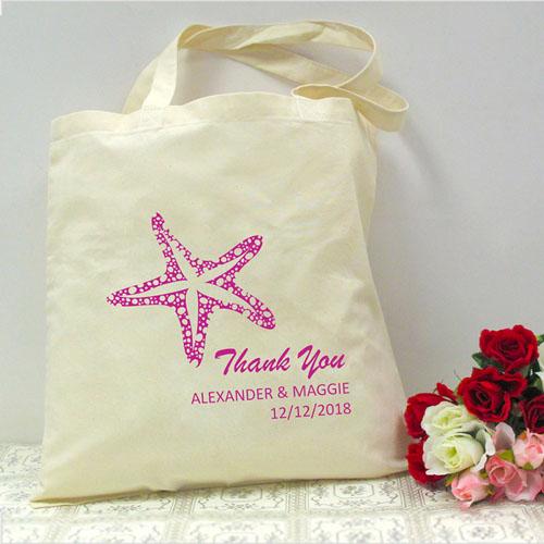 Personalized Fuchsia Starfish Beach Lover Wedding Bag