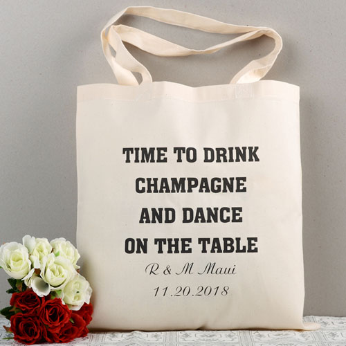 Personalized Message Wedding Tote Bag