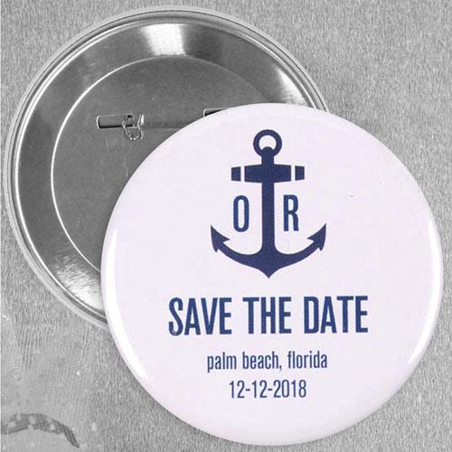 Anchor Nautical Wedding Personalized Button Pin, 2.25