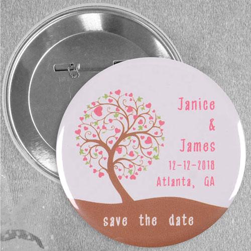 Oak Tree Wedding Favor Custom Button Pin, 2.25