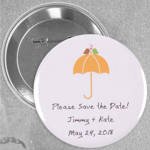 Modern Sweet Love Bird Wedding Custom Button Pin, 2.25