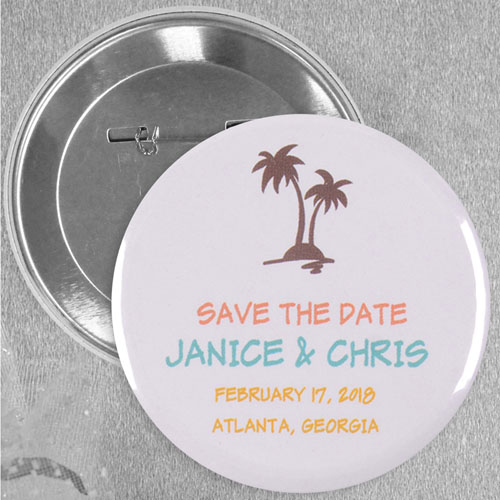 Tropical Beach Wedding Custom Button Pin, 2.25