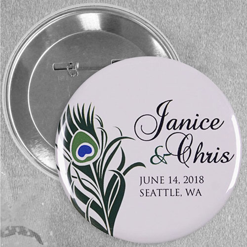 Peacock Feather Save The Date Custom Button Pin, 2.25