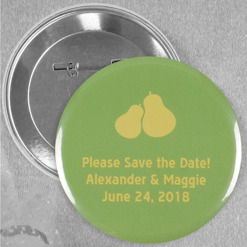 Perfect Pear Wedding Personalized Button Pin, 2.25