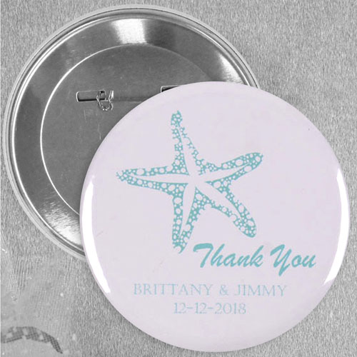 Cream Blue Sea Star Wedding Custom Button Pin, 2.25