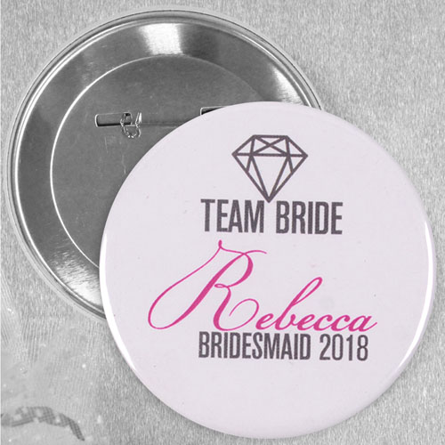 Bride Team Customized Name Button Pin, 2.25