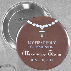 Baby Boy Baptism Custom Button Pin, 2.25