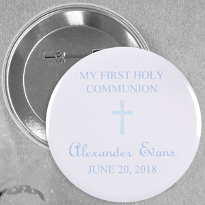 Baby Blue Christening Simple Cross Custom Button Pin, 2.25