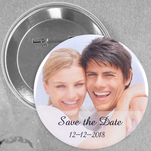 Wedding Photo Personalized Button Pin, 2.25