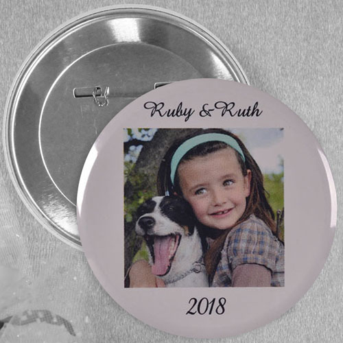 White Border Image Personalized Button Pin, 2.25