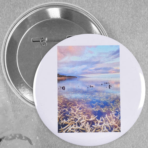 Simple White Portrait Image Personalized Button Pin, 2.5