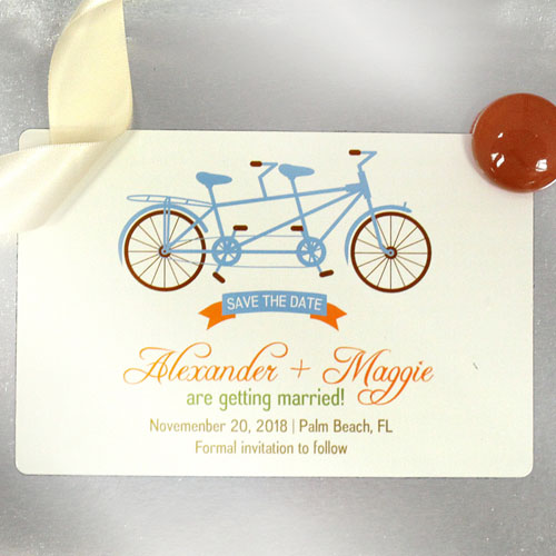 Custom Tandem Bicycle 4x6 Large Wedding Magnet