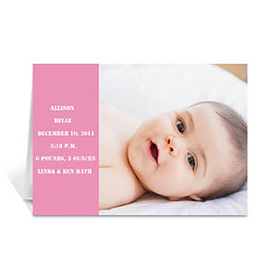 Baby Pink Photo Birth Announcements Cards, 5x7 Folded Modern