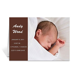 Personalized Chocolate Brown Photo Birth Announcements Cards, 5X7 Folded Modern