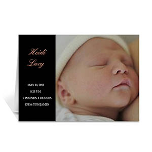 Personalized Classic Black Baby Photo Cards, 5X7 Folded Modern