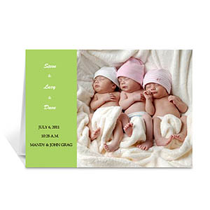 Personalized Lime Baby Photo Cards, 5X7 Folded Modern