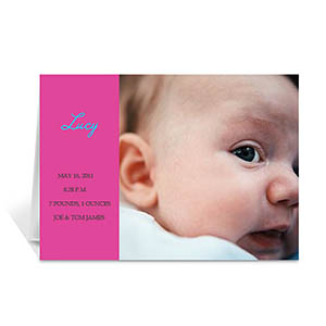 Personalized Hot Pink Baby Photo Cards, 5X7 Folded Modern