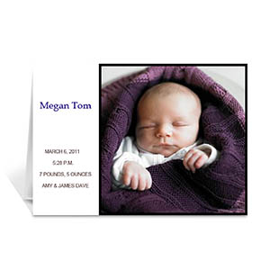 Personalized White Baby Photo Greeting Cards, 5X7 Folded Modern