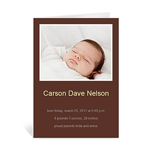 Personalized Chocolate Brown Baby Photo Greeting Cards, 5X7 Portrait Folded